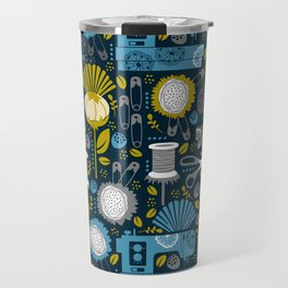 Garden of Sewing Supplies - Navy Travel Mug