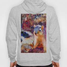 Squirrel And Raccoon Wildlife Art, Modern Nature Art Hoody