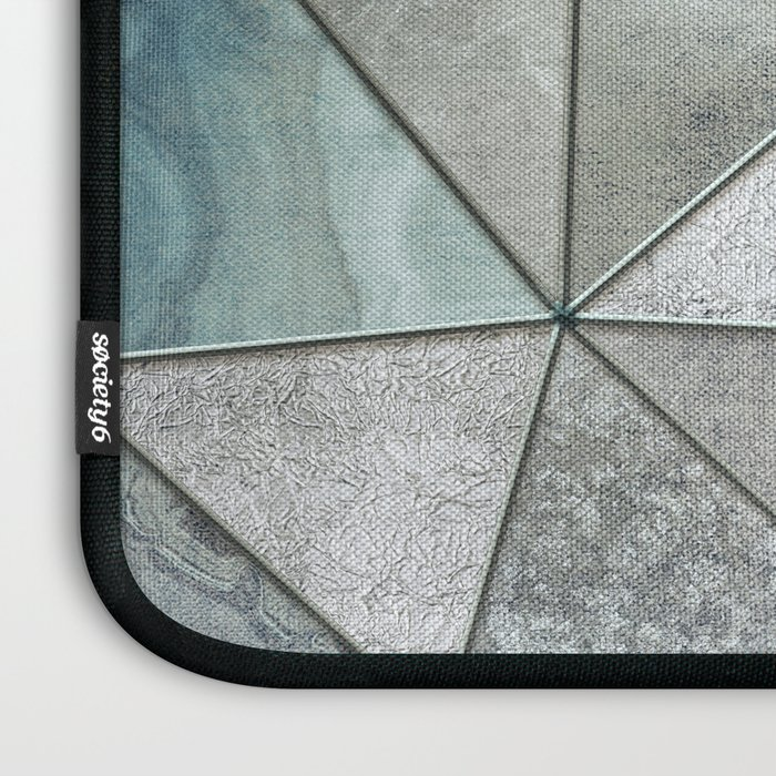 Teal And Grey Triangles Stained Glass Style Laptop Sleeve