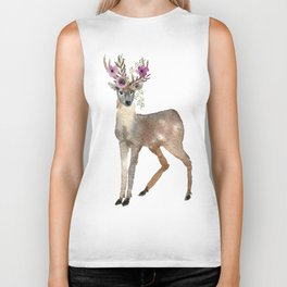 Boho Chic Deer With Flower Crown Biker Tank