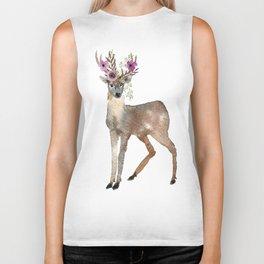 Boho Chic Deer With Flower Crown Biker Tank