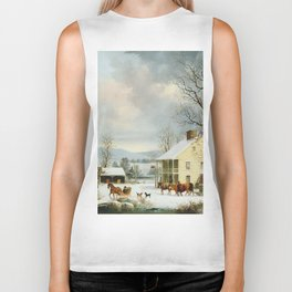George Henry Durrie - Winter In The Country Biker Tank