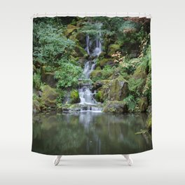 Portland Japanese Garden Waterfall Shower Curtain