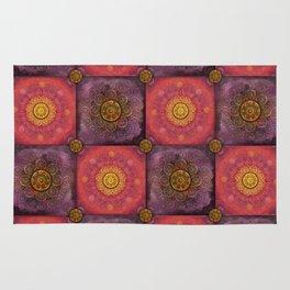 """Moroccan chess Strawberry & Purple Pattern"" Rug"