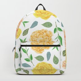 Hand painted yellow coral watercolor modern floral Backpack