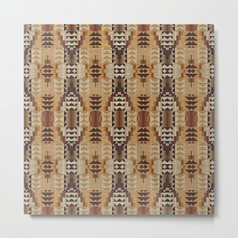 Orange Khaki Dark Caramel Coffee Brown Rustic Native American Indian Mosaic Pattern Metal Print