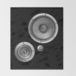 Subwoofer Speaker on black Throw Blanket