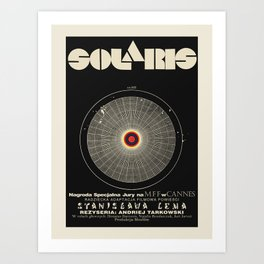 Vintage Polish movie poster for premiering Solaris at the Cannes Film Festival, 1972. Art Print