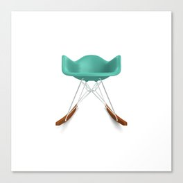 Eames® Molded Plastic Rocker with Wood Base - Turquoise Canvas Print