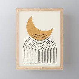 Moon mountain gold - Mid century style Framed Mini Art Print