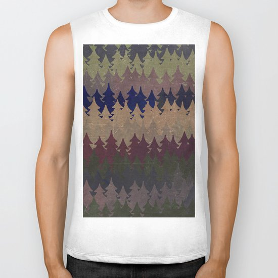 The secret forest at late afternoon- Dark tree pattern #Society6 Biker Tank