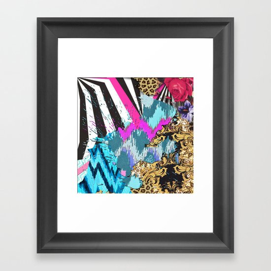 Fashion | Chic aztec pink teal zebra stripes leopard pattern Framed Art Print