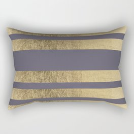 Elegant mauve purple faux gold stripes pattern Rectangular Pillow