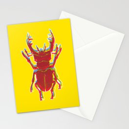 Stag Beetle Tricolore lino cut on yellow background Stationery Cards