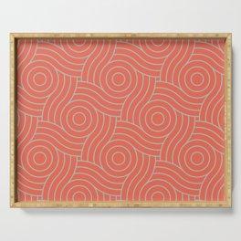 Pantone Living Coral & Storm Gray Circle Swirl Pattern Serving Tray