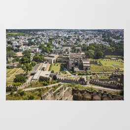 Looking down at the Ruins of Golconda Fort, into the Old Area of the City in Hyderabad, India Rug
