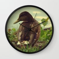 duck Wall Clocks featuring duck by aune