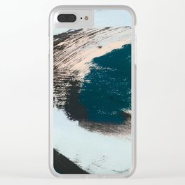 Imagine: a minimal, mixed media piece in black, white, blue, teal, yellow, and peach Clear iPhone Case