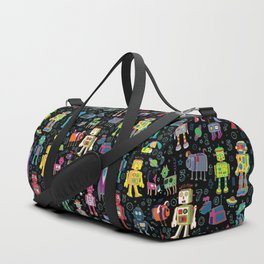 Robots in Space - on black Duffle Bag