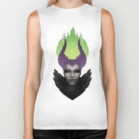 maleficent Biker Tanks featuring Maleficent by clayscence