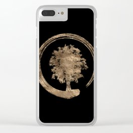 Enso Zen Circle and Tree - Gold on black Clear iPhone Case