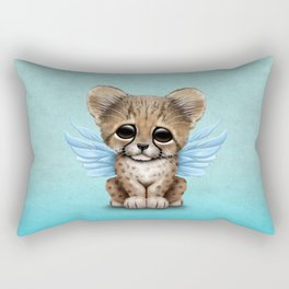Cute Baby Cheetah Cub with Fairy Wings on Blue Rectangular Pillow