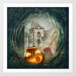 Hallowen old castel Art Print