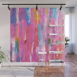 Abstract pink with fish bones Wall Mural