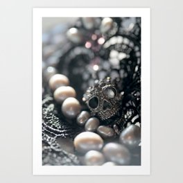 Skull, beads and lace Art Print