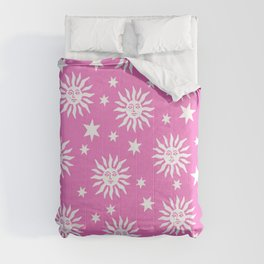 Mid Century Modern Sun and Star Pattern Pink Comforters