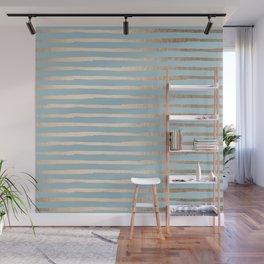 Abstract Stripes Gold Tropical Ocean Sea Blue Wall Mural