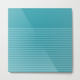White line in turquoise Metal Print
