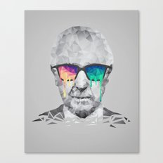 Albert Hofmann - Psychedelic Polygon Low Poly Portrait Canvas Print