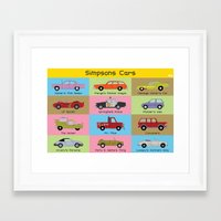 simpsons Framed Art Prints featuring Simpsons Cars by SIME Design