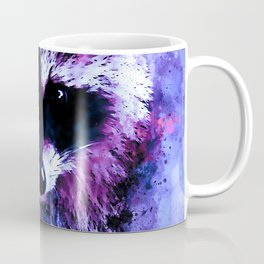 raccoon watercolor splatters blue purple Coffee Mug