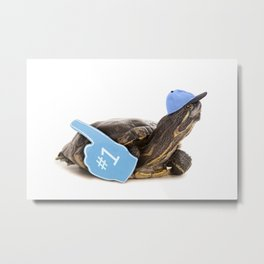 Turtle in Ball Cap and Foam Finger Metal Print