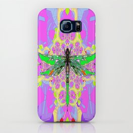 Emerald Green Dragonfly Pink Abstract iPhone Case