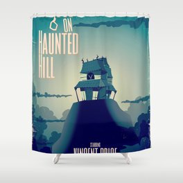 House on haunted hill vintage cartoon movie poster Shower Curtain