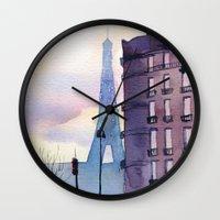 paris Wall Clocks featuring Paris by Emma Reznikova