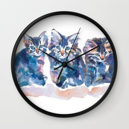 Crazy Quilt Kittens Wall Clock