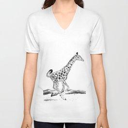 Baby Giraffe Running Unisex V-Neck