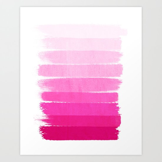 Luca - Ombre Brushstroke, pink girly trend art print and phone case for young trendy girls Art Print
