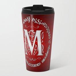 Joshua 24:15 - (Silver on Red) Monogram M Travel Mug