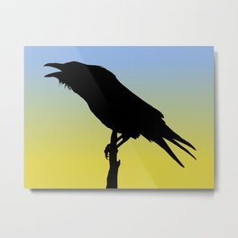 Common Raven Silhouette at Sunrise Metal Print