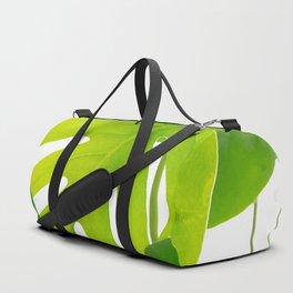 Beautiful Large Green Monstera Leaves On A White Background Fresh Mood #decor #society6 #buyart Duffle Bag