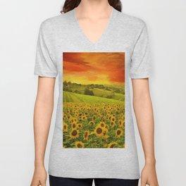 Tuscany Sunflower Fields and Vineyards Red Sunset Landscape Unisex V-Neck