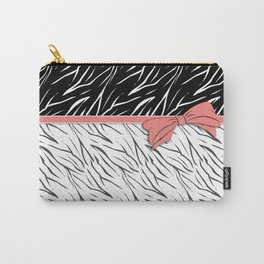 Black and white tiger pattern with pink bow. Carry-All Pouch
