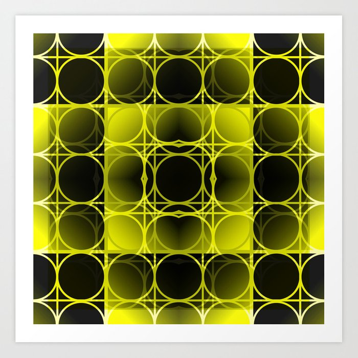 Circles, Grids and Shadows in Black and Yellow Art Print
