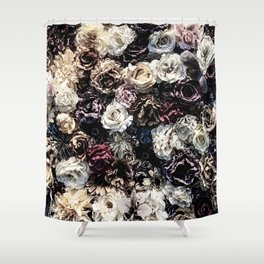 Flower Wall // Desaturated Vintage Floral Accent Background Jaw Dropping Decoration Shower Curtain