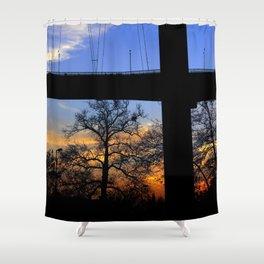 bridge and sunset Shower Curtain